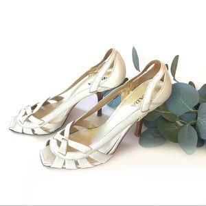 Prada White Cut Out Sandal Heels